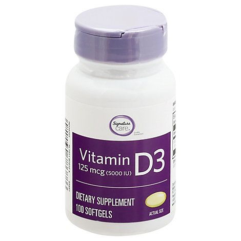 Signature Care Vitamin D3 125mcg Dietary Supplement Softgel - 100 Count