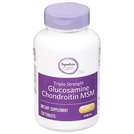 Signature Care Glucosamine Chondroitin MSM Dietary Supplement Caplet - 120 Count