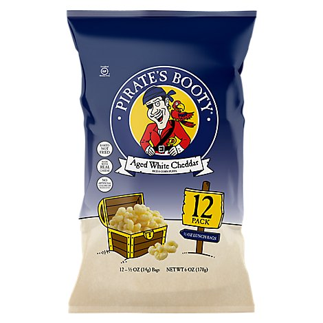 Pirates Booty Rice and Corn Puffs Baked Aged White Cheddar Lunch Packs - 12-0.5 Oz
