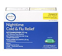 Signature Care Cold & Flu Relief Nighttime Acetaminophen 325mg Softgel - 24 Count