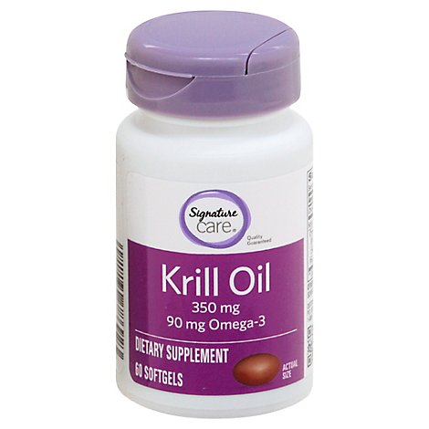 Signature Care Krill Oil 350mg Dietary Supplement Softgel - 60 Count