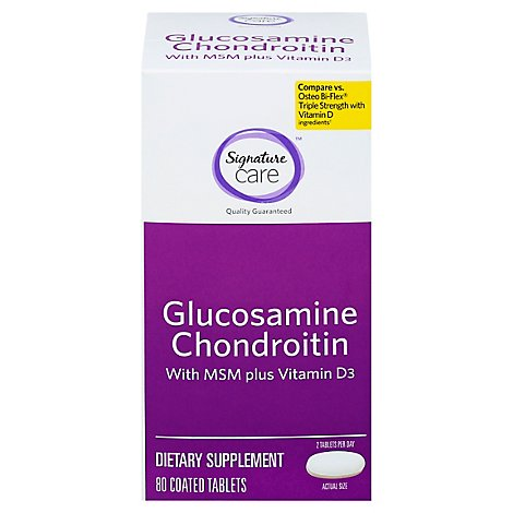 Signature Care Glucosamine Chondroitin With MSM Vitamin D3 Dietary Supplement Tablet - 80 Count