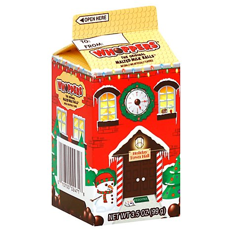 Whoppers Chocolate Malted Milk Ball Candy Mini Carton - 3.5 Oz