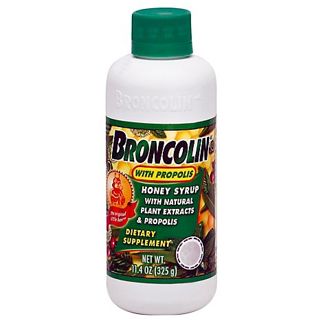 Broncolin With Propolis Honey Syrup With Natural Plant Extracts & Dietary - 11.4 Oz