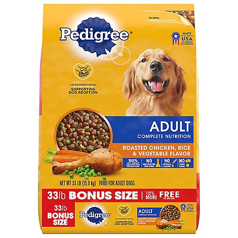 Pedigree Dog Food Dry For Adult Complete Nutrition Roasted Chicken Rice & Vegetable - 33 Lb