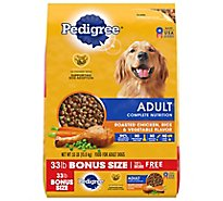 PEDIGREE Dog Food Dry For Adult Complete Nutrition Roasted Chicken Rice & Vegetable Bag - 33 Lb