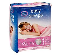 Signature Care Easy Sleeps Disposable Underwear Absorbent Girls L To XL - 20 Count