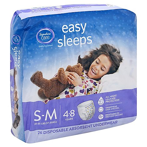 Signature Care Easy Sleeps Underwear Girls Disposable Absorbent S To M - 26 Count