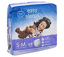 Signature Care Easy Sleeps Disposable Underwear Absorbent Girls S To M - 26 Count