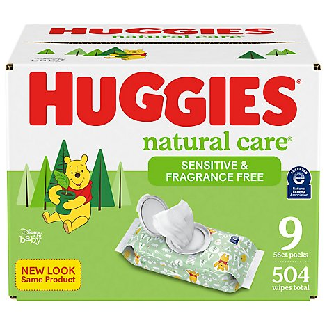 Huggies Baby Wipes Natural Care Fragrance Free Refill - 168 Count