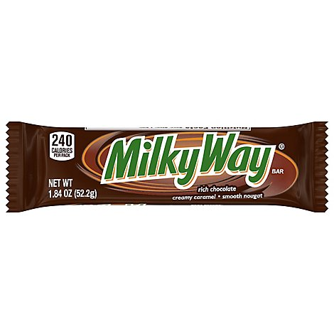 Milky Way Milk Chocolate Candy Bars Single Size 1.84 Oz