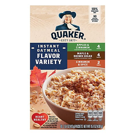 Quaker Oatmeal Instant Flavor Variety - 10-1.51 Oz