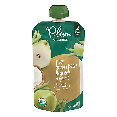 Plum Organics Baby Food Stage 2 Green Bean Pear & Greek Yogurt - 4 Oz