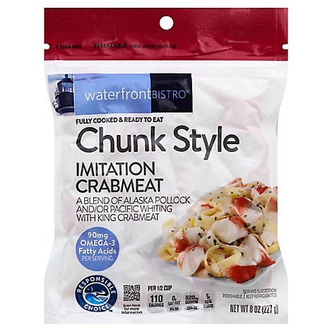 waterfront BISTRO Crabmeat Imitation Chunk Style Fully Cooked - 8 Oz