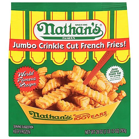 Nathans Famous Fries French Crinkle Cut Jumbo - 28 Oz