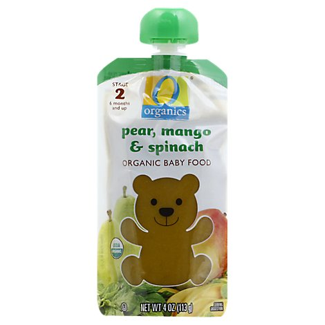 O Organics Organic Baby Food Stage 2 Pear Mango & Spinach - 4 Oz