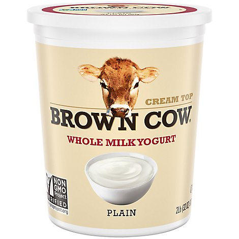 Brown Cow Yogurt Whole Milk Cream Top Plain - 32 Oz