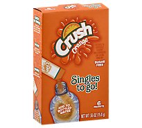 Crush Singles to Go! Drink Mix Sugar Free Orange 6 Count - 0.55 Oz