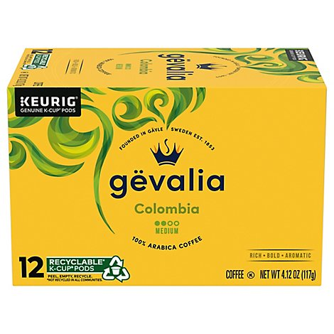 Gevalia Passport Collection Coffee K-Cup Pods Medium Roast Colombian 12 Count - 4.12 Oz