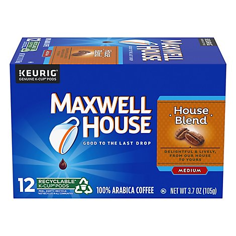 Maxwell House Coffee K-Cup Pods Ground Medium House Blend - 12 Count