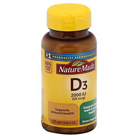 Nature Made Vitamin D Supplement Tablets D3 2000 IU - 125 Count