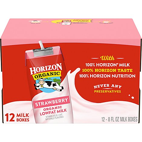 Horizon Organic Organic Milk Lowfat Strawberry - 12-8 Fl. Oz.