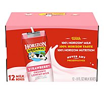 Horizon Organic Milk 1% Lowfat Strawberry - 12-8 Fl. Oz.