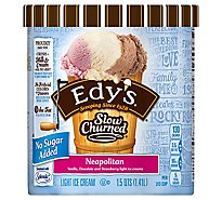 Dreyers Edys Ice Cream Slow Churned Light No Sugar Added Neapolitan - 1.5 Quart
