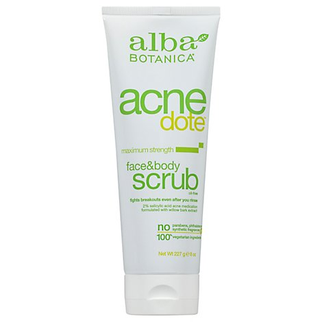 Alba Botanica Acne Face And Body Scrub - 8 Oz