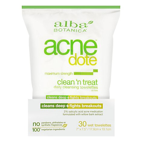Alba Botanica Acnedote Clean & Treat Tow - 30 Count