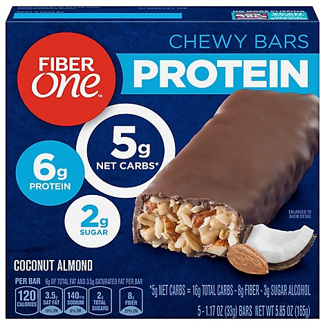 Fiber One Protein Chewy Bars Coconut Almond - 5-1.17 Oz