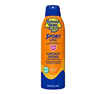 Banana Boat Ultra Sport Sunscreen Spray Clear Broad Spectrum SPF 50 - 6 Oz