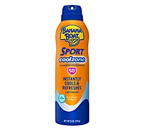 Banana Boat Sport Performance Sunscreen Spray Clear Cool Zone Broad Spectrum SPF 50 - 6 Oz