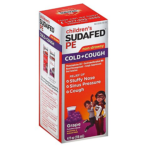 Sudafed PE Childrens Cold & Cough Liquid Grape Flavor - 4 Fl. Oz.