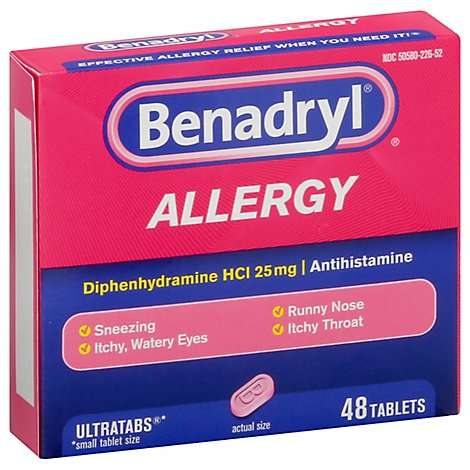Benadryl Allergy Tablets 25mg Ultratabs - 48 Count
