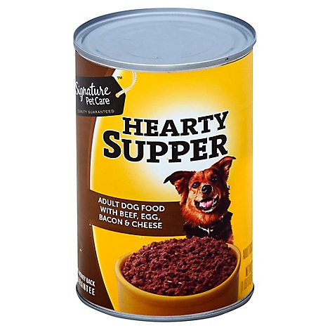 Signature Pet Care Dog Food Hearty Supper Adult With Beef Egg Bacon & Cheese Can - 22 Oz
