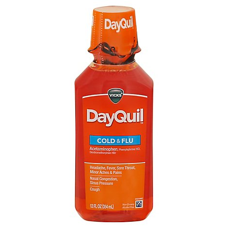 Vicks DayQuil Cold & Flu Relief Multi Symptom Syrup Non Drowsy - 12 Fl. Oz.