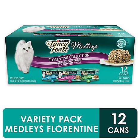 Fancy Feast Medleys Cat Food Gourmet Florentine Collection In A Delicate Sauce Box - 12-3 Oz