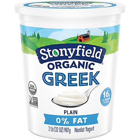 Stonyfield Farm Organic Greek Yogurt Plain Nonfat - 32 Oz