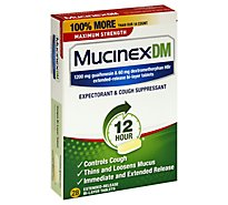 Mucinex DM Expectorant & Cough Suppressant Maximum Strength 12 Hours Relief Tablets - 28 Count