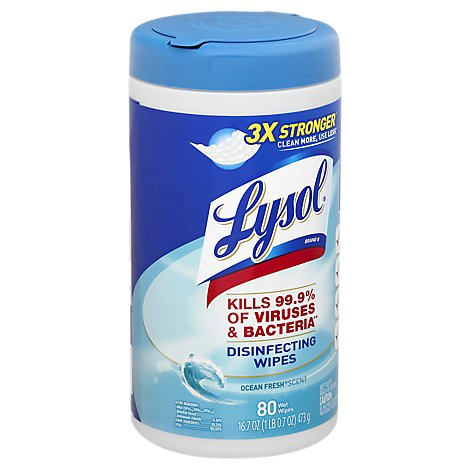 Lysol Disinfecting Wipes Ocean Fresh Scent - 80 Count