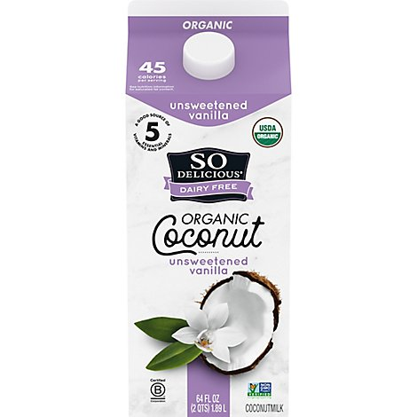 So Delicious Dairy Free Organic Coconutmilk Beverage Unsweetened Vanilla Half Gallon - 64 Fl. Oz.