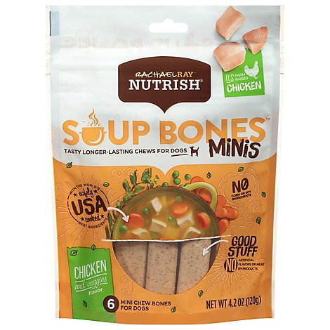 Rachael Ray Nutrish Chew Bones for Dogs Minis Chicken and Veggies Flavor 6 Count - 4.2 Oz