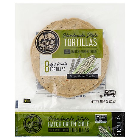 La Tortilla Factory Tortillas Corn Hand Made Style Green Chile Bag 8 Count - 11.57 Oz
