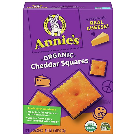 Annies Homegrown Crackers Organic Baked Snack Cheddar Squares  - 7.5 Oz