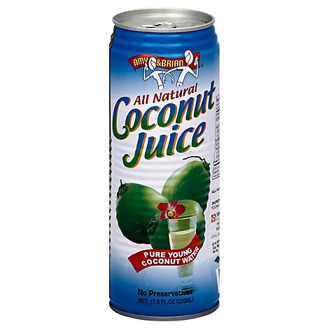 AMY & BRIAN Coconut Juice All Natural Pure Young Pulp Free - 17.5 Fl. Oz.