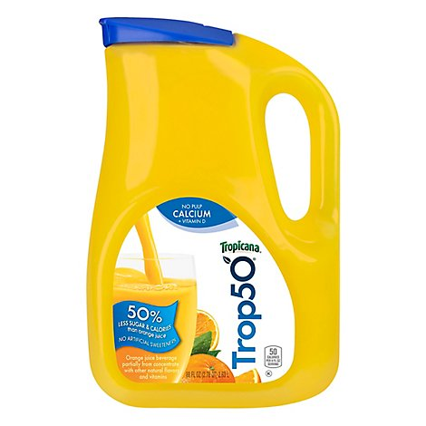 Tropicana Juice Orange With Calcium Trop50 No Pulp - 89 Fl. Oz.