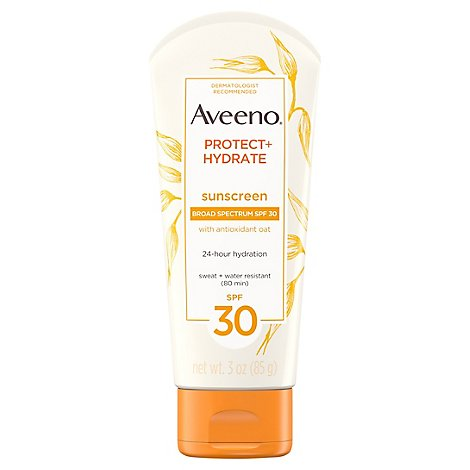 Aveeno Active Naturals Sunscreen Lotion Protect + Hydrate Broad Spectrum SPF 30 - 3 Oz