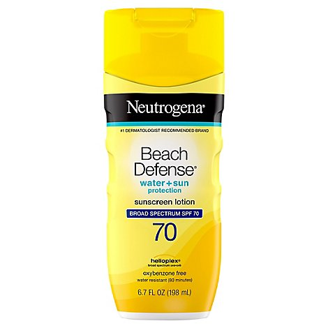 Neutrogena Beach Defense Sunscreen Lotion Water + Sun Protection Spf 70 - 6.7 Fl. Oz.