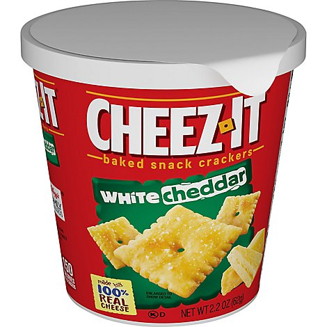 Cheez-It Baked Snack Cheese Crackers in a Cup White Cheddar Single Serve - 2.2 Oz